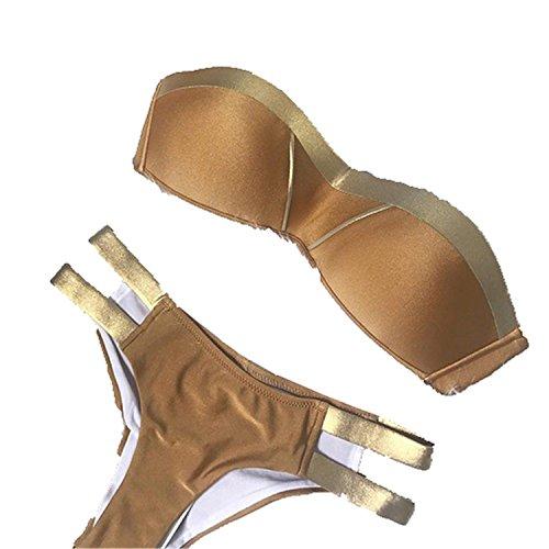 Swimsuit Push Brazil Gold Bathing Sexy Summer Swimwear Up Set Padded Khaki Beachwear Suit XL Bikini Bandeau Stamping Women cYqwYg0A