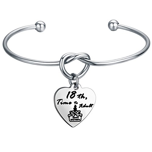 FEELMEM Birthday Gifts for Her Birthday Bracelets,12th Sweet 16 18th 21st,Love Knot with Heart Charm Bangle Bracelet, Ideas (18th Charm-Silver) ()