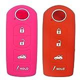 2Pcs Coolbestda Silicone Key Fob Cover Case Skin Jacket Remote Keyless Protector for Mazda 3 6 CX-5 CX-7 CX-9 MX-5 Miata