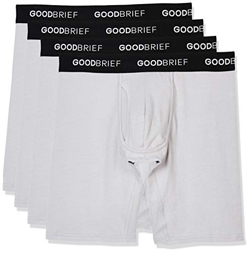 Basic Grey Heart - Good Brief Men's 4-Pack Cotton Stretch Long Leg Boxer Briefs Large Light Grey Basic Waistband