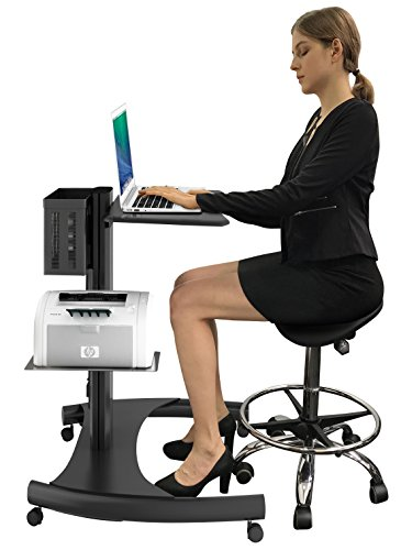 Heavy Duty Height Notebook Cart I Adjustable Laptop Stand on wheels with Integrated Power Outlets- Black by Ergoshopping
