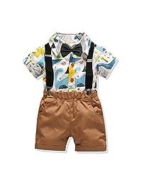 Gatti Baby Boy Toddler Gentleman Suit +Bow Tie+Suspender Trousers Pants Suit Suspenders Style 4Pcs Set