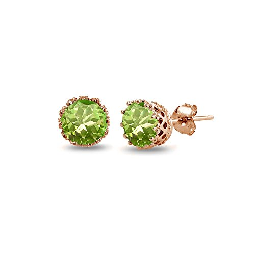 Rose Gold Flashed Sterling Silver Simulated Peridot Crown Stud Earrings ()