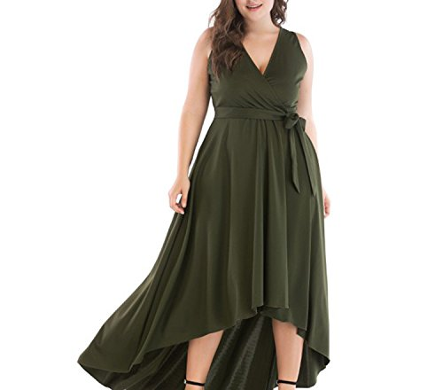 Fall Party Invitation Wording (Stjeny Elegant Women's Dresses Thin V-Neck tie Long Dress Dress,Green,5XL)
