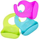 Waterproof Silicone Bibs Rubber Baby Bibs for Toddler Odorless BPA Free Wipe Off Roll up Boys Girls Unisex