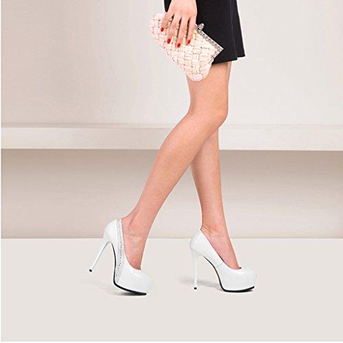 times à Strass Simples Bouche des Hauts Chaussures Hyun Imperméable de Plate 13cm Peu Fine L'Eau Chaussures Forme Sexy Femelle Avec Profonde Talons Mode Blanc Femmes à AzxxPUqwEd