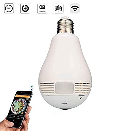 Bolt Wireless Panoramic Bulb 360° IP, 1 3MP, Fisheye Vision, Remoting  Monitoring Home Security Camera Led Bulb Light