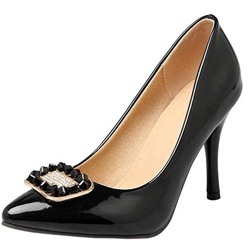 Court Shoes Rhinestone Fashion with Stiletto TAOFFEN Slip On Women Black qwZvxwFnX