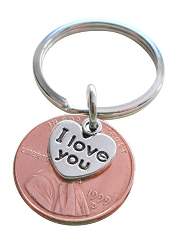 I Love You Heart Charm Layered Over 1999 US One Cent Penny Keychain, 19 Year Anniversary (1999 Gift)