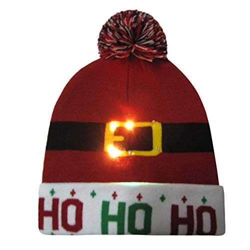 WUAI Christmas Hat for Adults,Novelties LED Light Up Hat Knitted Ugly Sweater Holiday Xmas Christmas Beanie Hats(D01,Free Size) -