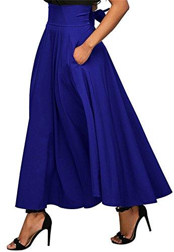 Jupes Unie Elegante Soire Rtro Plisse Bandage Jupe Fte de avec t Legendaryman Taille Couleur Cocktail Femmes Bleu Haute Maxi xCYHEETq7w