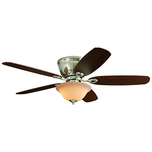 Harbor Breeze Pawtucket 52-in Brushed Nickel Indoor Flush Mount Ceiling Fan with Light Kit and Remote