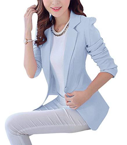 Lunga Blau Primaverile Donna Blazer Outerwear Classica Camicia Fit Da Casual Tailleur Marca Moda Bavero Tasche Autunno Giubbino Monocromo Slim Manica Eleganti Con Giacca Di Mode FqS6wqIx