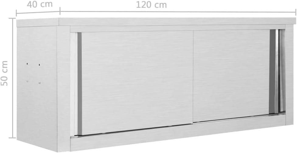 Goliraya Armadio da Cucina ad Ante Scorrevoli 120x40x50cm// 90x40x50cm Armadietto Porta Attrezzi a Parete in Acciaio Inox Mobile da Cucina