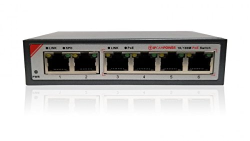 IPCamPower 4 Port POE Plus Network Switch W/ 2 Additional Uplinks, Up to 30 Watts Per Port, 65 Watts Total Budget, Built for IP Cameras by IPCamPower