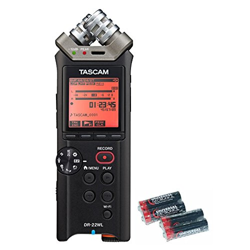 Tascam DR-22WL Portable Handheld Recorder with Wi-Fi and Free 4 Universal Electronics AA Batteries by Tascam