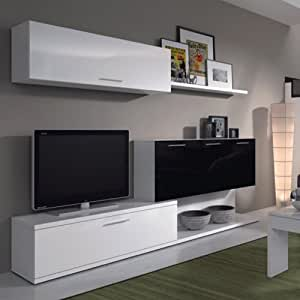 Mueble de salon moderno color blanco y negro brillo due for Mueble salon blanco y gris
