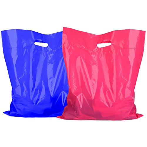 100 Retail Merchandise Plastic Bags 12x15 - 1.75 mil [ 50 Pink 50 Blue ] Large Glossy Shopping Bags With 3.5 mil Double Thick Handles Tear Resistant For Clothes Shoes Books Shop Store Boutique Bags (Plastic Bag 1.75 Mil)