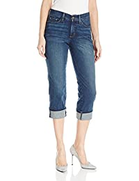 Women's Dayla Wide Cuffed Capri Jeans In Stretch Indigo Denim