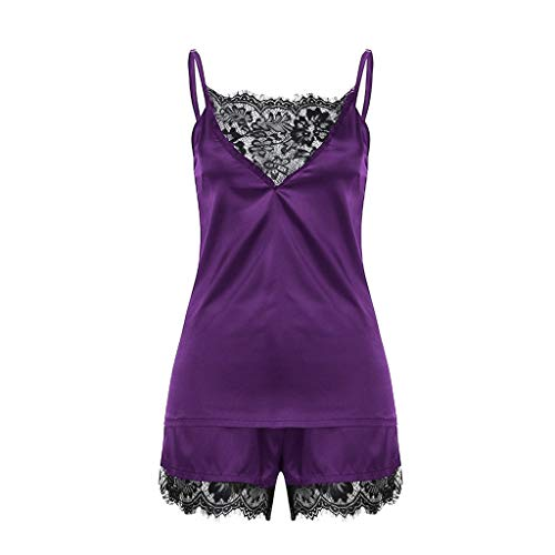Cute Teddy Babydoll, Sexy Pajamas Women Sleepwear Vest Tops Pants Solid Strap Nightwear Lace Trim Satin Cami Top Set Purple L (32a Lace French)
