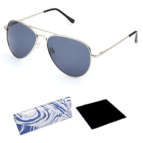 EVEE Women Classic Silver Metal Aviator Grey MIRROR POLARIZED SUNGLASSES with Spring Hinge + EVEE LIMITED EDITION CASE + MICROFIBER CLEANING CLOTH (E-SCPPSVGY) (Silver, (Grey Polarized Mirror)