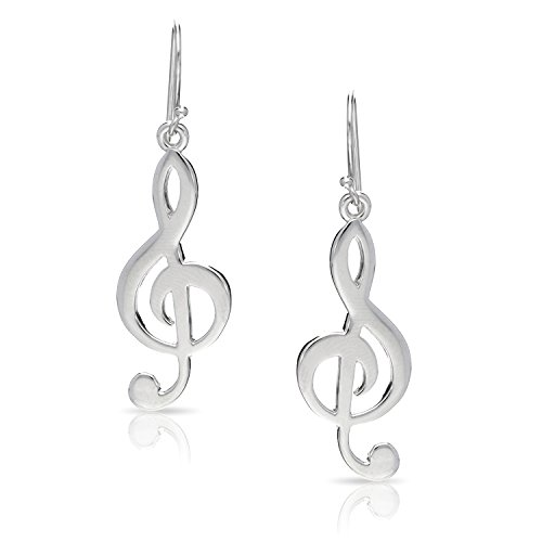 Treble Clef Melody Musical Note Dangle Set of Plain Silver Earrings, Never Rust 925 Sterling Silver Natural and Hypoallergenic Hooks for Women & Girls, with Free Breathtaking Gift Box