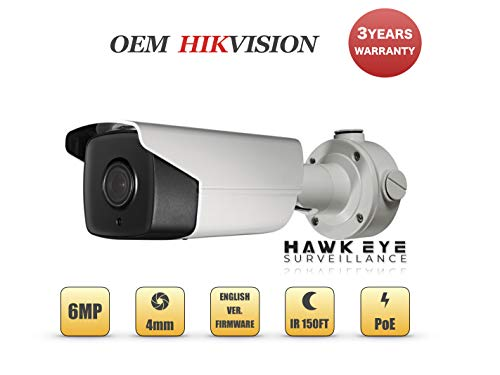 6MP PoE Security IP Camera – Compatible with Hikvision Performance Series DS-2CD2T65G1-I5 Bullet EXIR Night Vision 4mm Fixed Lens H.265+ 3 Year Warranty