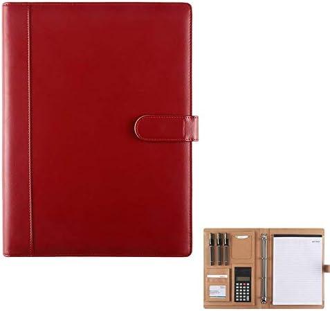 Schreibmappen Durable Leder Geschäfts Ordner Multifunktionale Business Männer und Frauen Professionelle Organisator-Geschenk A4 Konferenzmappe (Color : Red, Size : 335x255mm)