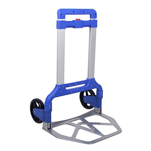 Sack Truck Compact - Shopping Cart Trolley Heavy Duty Aluminium Folding Hand Sack Truck Barrow Cart, Trolley Foldable Industrial Warehouse for Indoors Outdoors (Color : Blue)