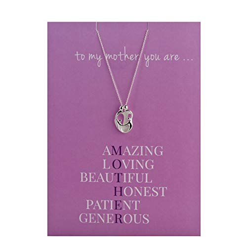 """925 Silver Loving Family Greeting Card Pendant 18"""" Necklace Parents with 2 Children"""