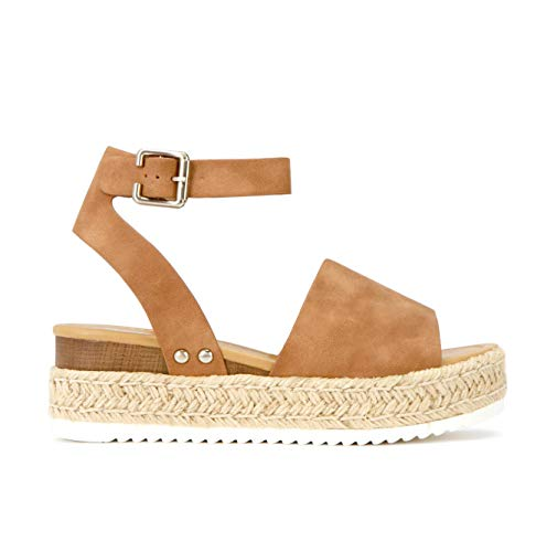 SODA Topic Casual Espadrilles Trim Rubber Sole Flatform Studded Wedge Buckle Ankle Strap Open Toe Sandal (7.5, Tan Brown Rich Nubuck)