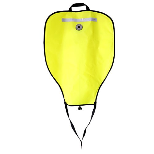 (Baosity High Visibility Compact Lift Bag with Dump Valve Gear Underwater Scuba Diving Work 50lbs - Yellow)