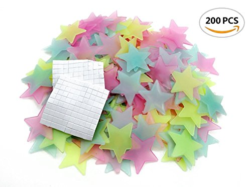 LiveGallery Pack of 200 Glow in the dark Colorful Stars Wall Decal Decor Fluorescent Noctilucent Plastic Multicolor Star Wall Stickers for Home Ceiling Wall Decorate Baby Kids Gift Nursery Room]()