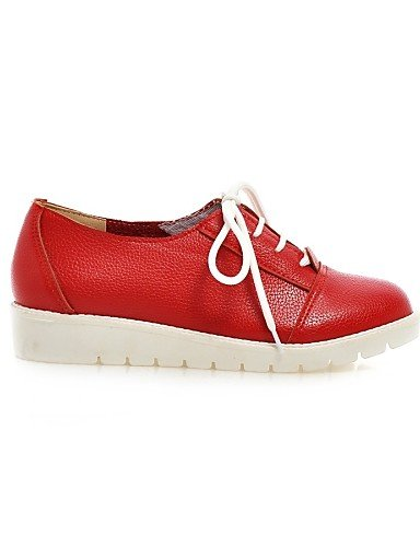 Plat Chaussures Eu39 Arrondi Rouge Décontracté Blanc us8 Cn39 Argent Uk6 Talon Richelieu Bout Femme Similicuir Red Njx xfwUqdp0U