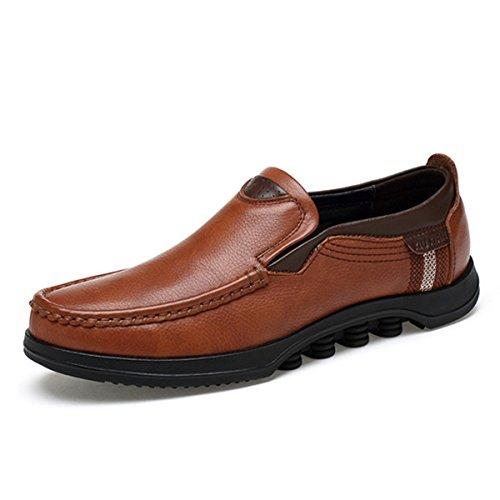 Gracosy Mocasines Para Hombre Zapatos de Cuero Casual de Los Hombres Zapatos Planos Mocasines Zapatos de Negocios Mocasines de Conducción de Zapatos Marrón