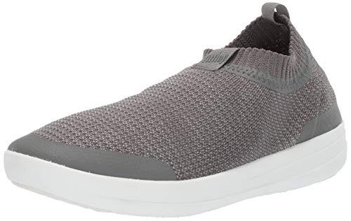 Metallic Nylon Hat - FitFlop Women's Uberknit Sneakers-Metallic Slip on Trainers, Multicolour (Charcoal/Metallic Pewter 551), 7 UK (41 EU)