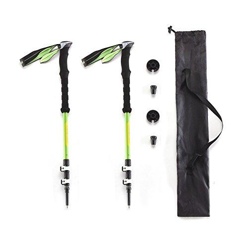 CampLand Ultralight 80% Carbon Fiber Trekking Poles Anti Shock Collapsible Hiking Walking Sticks