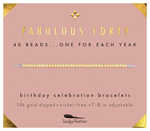(Lucky Feather 40th Birthday Gifts for Women, 14K Gold Dipped Beads Bracelet on Adjustable 7Ó- 8Ó Cord - Perfect 40th Birthday Gift Ideas for)