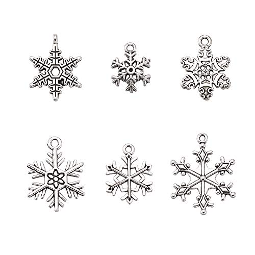 Snowflake Tag Charm - Pandahall 5Sets/30pcs Mixed Vintage Tibetan Style Alloy Snowflake Pendants Christmas Jewelry Making Necklace Charms Cadmium Free Lead Free Antique Silver