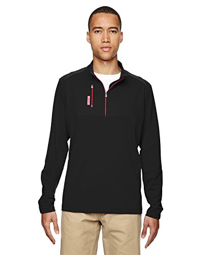 adidas Golf Mens Puremotion Mixed Media Quarter-Zip (A195), Black/Bold Red, ()