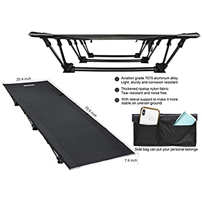 MARCHWAY Lightweight Folding Tent Camping Cot Bed, Portable Compact for Outdoor Travel, Base Camp, Hiking, Mountaineering, Backpacking, Newer Model in 2020: Sports & Outdoors