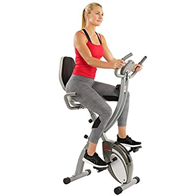 Sunny Health & Fitness Folding Exercise Bike with Magnetic Semi Recumbent Upright High Weight Capacity and Pulse Monitoring - SF-B2721 Comfort XL from Sunny Distributor Inc.