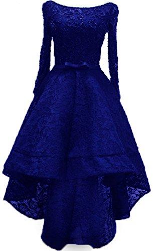 Bessdress Dentelle Manches Longues Robes Formelles Robes Salut Lo Soirée Bd365 Bleu Royal