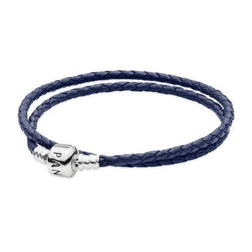 Pandora Double Dark Blue Leather Bracelet (Authentic Pandora Jewellery)