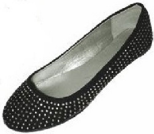inestone Ballerina Ballet Flats Shoes (9/10, 4021 Black/Silver) (Black Silver Shoes)