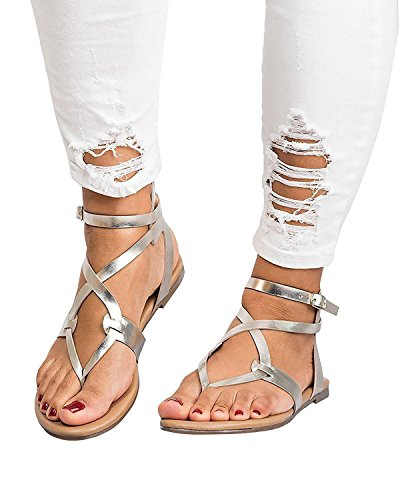Thong Flat Leather Shoes Buckle Sandals Casual Strappy ThusFar Strap Sandals Silver Clip Toe Women Ankle XqAx1wPnIH