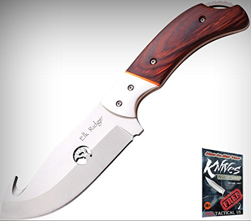 (Elk Ridge 554HWD Fixed Limited Elite Knife Guthook Brown Pakkawood Handles + free eBook by ProTactical'US)