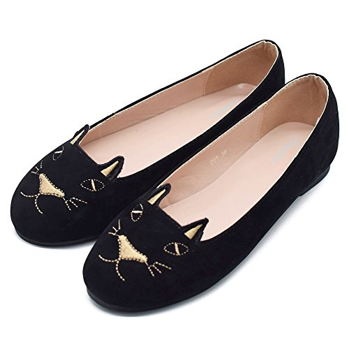 Cat Shoes, Tengyufly Classic Embroidery Cat Shoes Women Casual Slip On Ballet Flats 6.5 B(M) US/38 M (Suede Cat Shoes)
