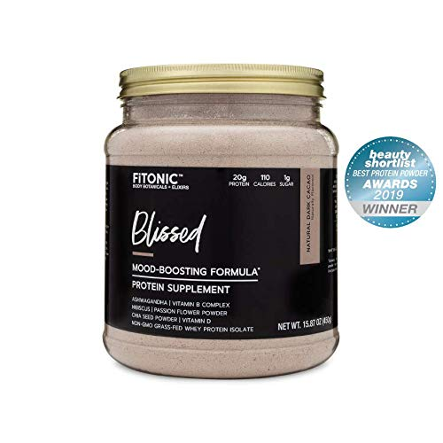 FiTONIC Blissed-Natural Cacao Chocolate Protein Powder for Women   Delicious Low Calorie and Carb Post Workout Recovery Shake   Gluten, Soy, and RBST-Free   Paleo Mood Boosting Formula