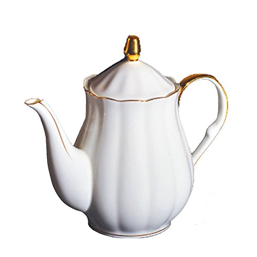 YOSOU HOME Bone China Custom Classic Unique Cup Teapot&Tea Pot with Lid Set -for Coffee Tea Milk-Gifts for Couple, Friend,Mother's Day and Father's White